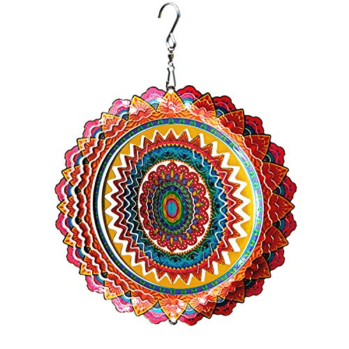 FONMY Stainless Steel Wind Spinner Worth Gift Indoor Outdoor Garden Decoration Crafts Ornaments 6 Inch Multi Color Mandala Wind Spinners