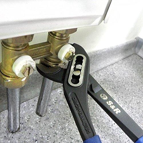 S&R Wasserpumpenzange CR-V Stahl phosphatiert, doppelt ummantelte Griffe, 240 x 33 mm, 272.240.331