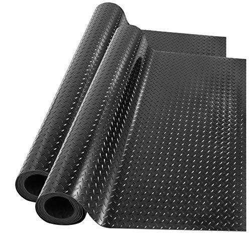 Happybuy Garage Floor Mats 2 Rolls 14.7 x 3.6 Ft Garage Mat 2.5mm Thickness Black Garage Flooring PVC Garage Mats for Under Car