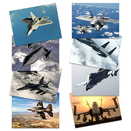 Military SR-71 Blackbird F-15 Eagle F-16 Falcon F-18 Hornet F-22 Raptor Fighters Navy Wall Art Poster Pack of 8 Militär Adler Kämpfer Marine Wand