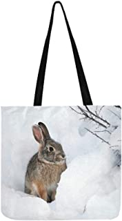 White Snow Hare Rabbit In Winter Canvas Tote Handbag Shoulder Bag Crossbody Bags Purses For Men And Women Shopping Tote