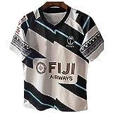 YAQA Fiji Sevens Rugby Jersey 2021 Bordado Camiseta De Entrenamiento White-XXL