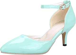 Womens Kitten Heel Pointed Toe Strappy Pumps Candy Color Mid Heeled D'Orsay Court Shoes