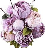Ksnnrsng Fausses Fleurs Ancien Pivoine Artificielle Fleurs en Soie Bouquet Mariage Accueil Décoration (Nouveau Violet)