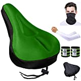 Karetto Gel Bike Seat Cover Narrow Exercise Bicycle seat Cushion Cover Bicycle Saddle Pad with Water&Dust Resistant Cover Reflective Band Bandanas for Cycling