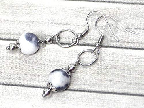 Pendientes de acero inoxidable para mujer con anillos y perlas de jade tintadas en blanco y negro