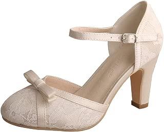 Wedopus WDF7065 Women's Mary Jane Closed Toe Bow Court Shoes Block Heel Lace Wedding Bridal Shoes