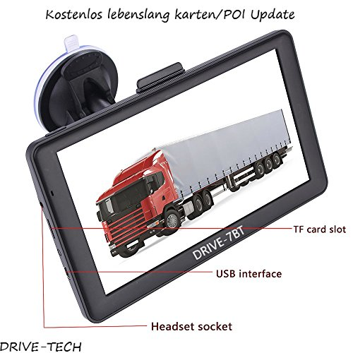 7 Zoll Navigationsgerät Navi Navigationssystem DRIVE-7BT für LKW, PKW, WOHNMOBIL, Camper. 50 Länder Europas, Text-to-Speech, lebenslange Kartenupdates. Fahrspurassistent. Kapazitiven Touchscreen.