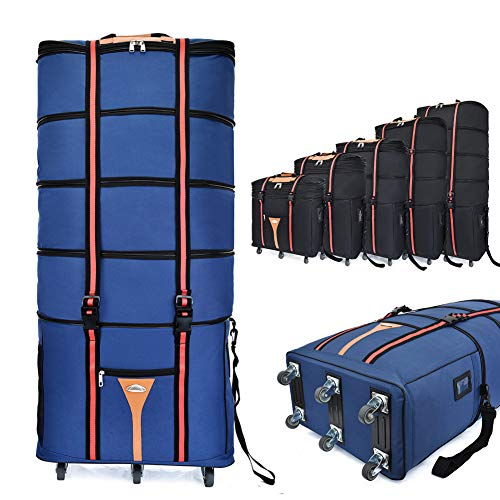 Borsone espandibile con ruote extra large, valigia oversize da 116,8 cm a 6 ruote, valigia pieghevole, impermeabile/assorbimento degli urti, adatto per escursioni, viaggi, affari