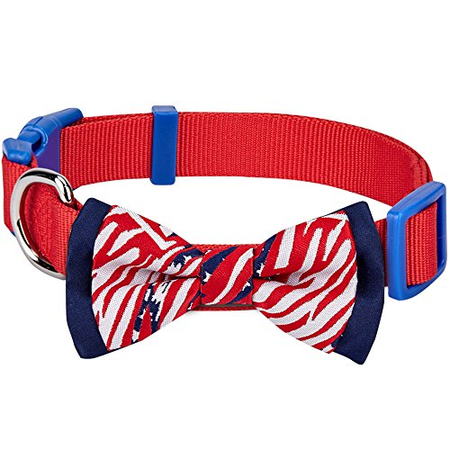 Blueberry Pet 2 Patterns Patriotic Spirits American Flag USA Adjustable Bowtie Red Dog Collar - Handmade Bow Tie w/Jacquard Weave Fabric, Small, Neck 12'-16'