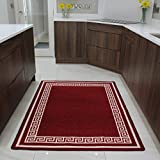 The Rug House Plain Red Slip resistant Kitchen Utility Easy Clean Mat Luna