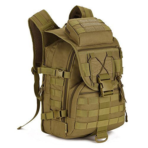 Tactical Backpack 40L Trekking Rucksack Water Resistant Military Army Combat Rucksack MOLLE Hiking Backpack Green