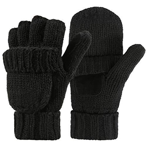 HDE Womens Winter Wool Fingerless Mittens | Warm Convertible Gloves Mitten Cover