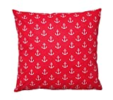 Amilian® Dekokissen Kissenbezug Kissen 80cm x 80cm Anker KLEIN rot