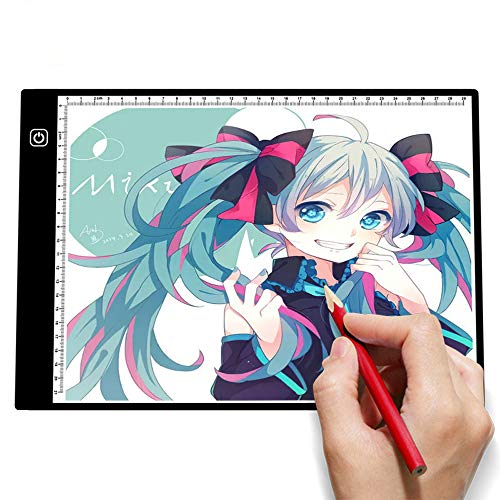 A4 Light Box,Portable Ultra-Thin LED Drawing Pad, Adjustable Brightness Tracing Light Pad with USB Power Cable,Copy Board for Diamond Painting and Sketching,Three gear dimming