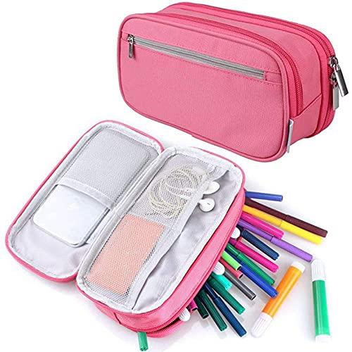 Coalar Estuche de gran capacidad, de nailon, tres capas, monocolor, portátil, para niños, niñas, estudiantes, escuela, oficina, accesorios, 8,3 x 4,1 x 2,4 pulgadas, color rosa