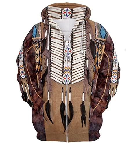 Unisex Kapuzenpullover 3D Druck Indianer Indianer Kapuzenpullover Ethno Totem Muster Reißverschluss Jacke Gr. XXXL, Cb 03
