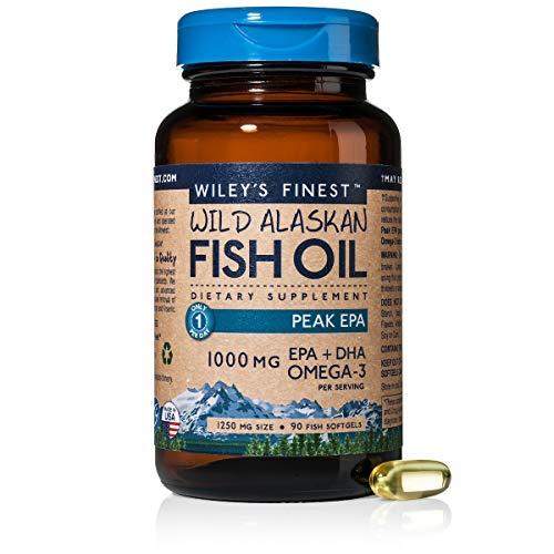 Wiley s Finest Wild Alaskan Fish Oil - 3X Triple Strength Peak EPA DHA, 1000mg Omega-3s, NSF-Certified, 90 Softgels