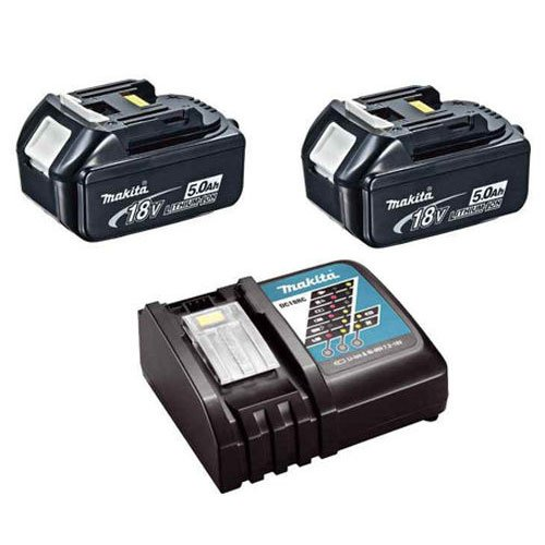Makita 2XBL1850DC18RC 2XBL1850 18v Li-ion 5.0Ah Battery Twin Pack & DC18RC Charger Kit, 18 V, Black