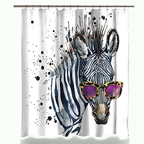 Divertida Cebra con Gafas Rosas Moda Tela Impermeable decoración del hogar Cortina de Ducha Cortinas de baño con 12 Ganchos-L