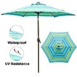 Abba Patio 9 ft Patio Umbrella Outdoor Market Table Umbrella with Push Button Tilt and Crank for Garden, Lawn, Deck, Backyard & Pool, Turquoise Striped