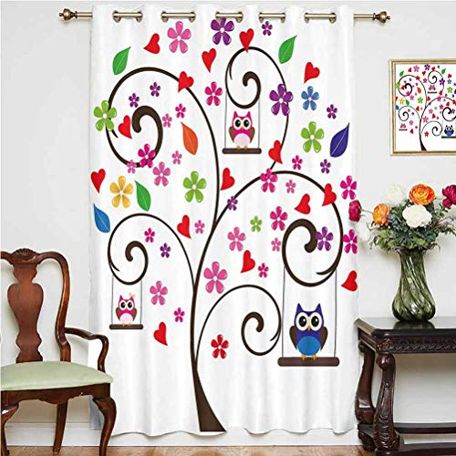 Nursery Shading Curtains Spring Tree with Curly Branches Colorful Fresh Blossoms Cute Owls Swinging Decorative Thermal Backing Sliding Glass Door Drape ,Single Panel 63x84 inch,for Glass Door Black M