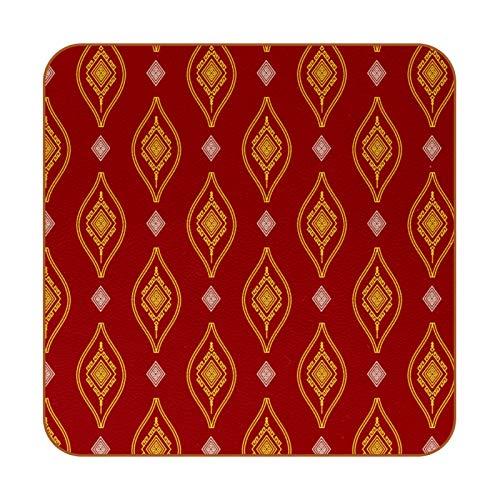 Bennigiry Boho Bohemia - Posavasos cuadrados de cuero rojo, taza de café, taza de cristal, manteles individuales, 6 unidades