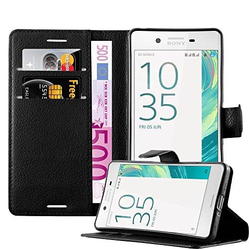 Cadorabo Hülle für Sony Xperia X in Phantom SCHWARZ - Handyhülle mit Magnetverschluss, Standfunktion & Kartenfach - Hülle Cover Schutzhülle Etui Tasche Book Klapp Style