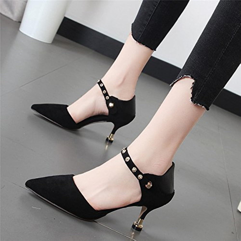 Xue Qiqi Geschlitzte Schelleisen Schelleisen Schelleisen einzelne Frauen Schuhe wies High Heels fein mit Licht - Schuhe für die elegante Frau  a02f02