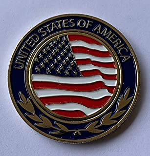 New USA Golf American Flag Oversized Golf Ball Marker with Removable Marker