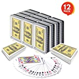 Gamie 100 Dollar Bill Playing Cards - Pack of 12 Decks - Individually Shrink Wrapped - Game Cards for Poker, Kids, Adults - Birthday Party Favor for Girls and Boys - Great Gift Idea