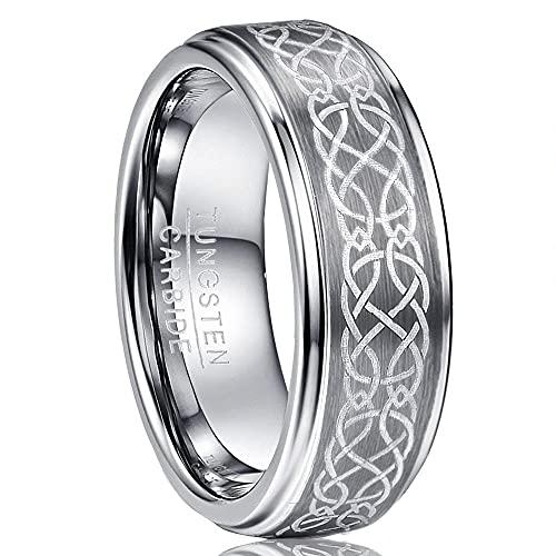 NUNCAD Tungsteno da Donna/Anello da Uomo in Argento 8mm con Motivo Celtico per Matrimonio, Fidanzamento, Anniversario, Taglia 52 (12)
