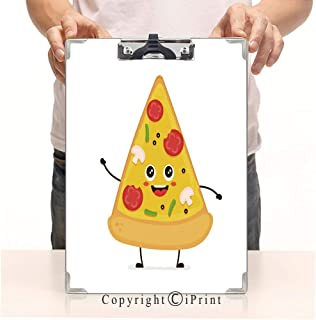 Paperboard Profile Clip A4 Standard Size Clipboards CartoonPrint Clipboards Office Folders,Cute Smiling Funny Cute Pizza Slice Talking