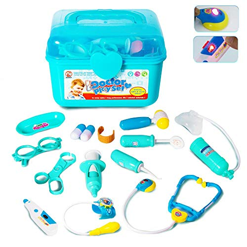 GAMZOO Doctor Kit for Kids-Pretend Play Toy Medical Set for 3,4,5 Year Old Girls Birthday Gift, Nurse Playset with Coat,Electronic Stethoscope,Light & Sounds for Age 3-6