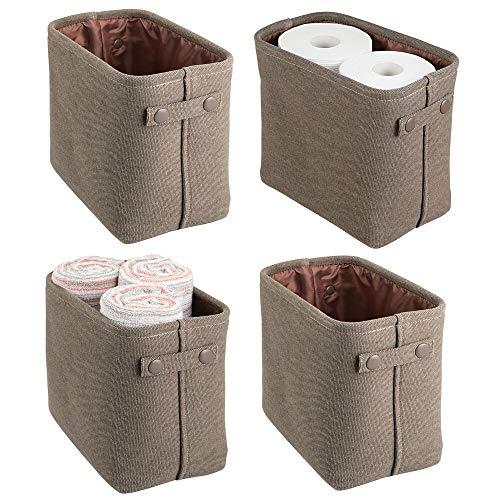 mDesign Juego de 4 cestas de tela con forro y diseño estructurado – Ideales como cestos para baño o como organizador de cosméticos – Práctico organizador de baño de algodón con asas – marrón café