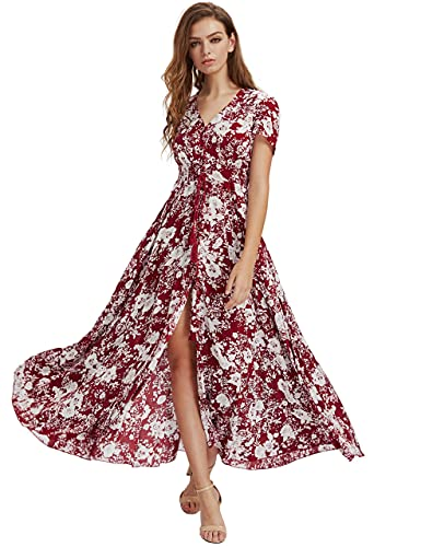 Milumia Women Button Up Floral Print Party Split Flowy Maxi Dress Red and White XX-Large