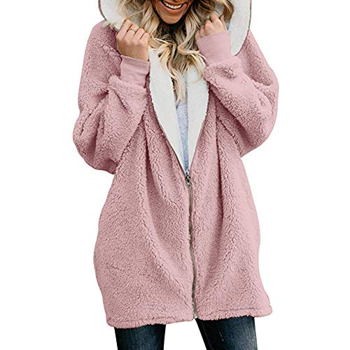 KEERADS Mode Femmes Solide Énorme Fermeture éclair vers Le Bas Peluche Chaud Sweat à Capuche Duveteux Manteau Cardigans Outwear avec Poche(XL,Rose)