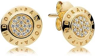 Shine Logo Gold Stud Earrings 260559CZ