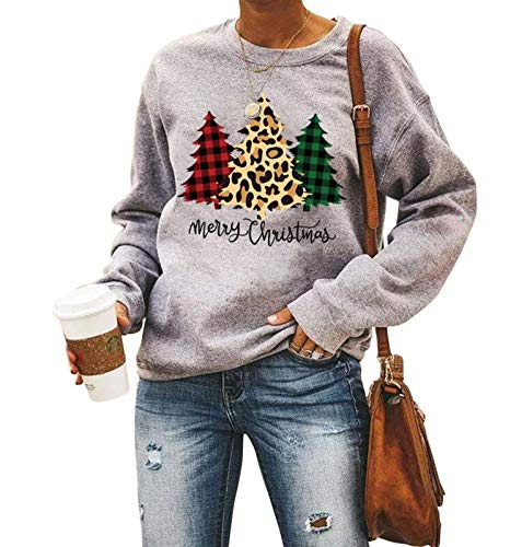 Merry Christmas Sweatshirt Women Casual Crewneck Long Sleeve Holiday Shirts Fall Winter Pullover Top Gray