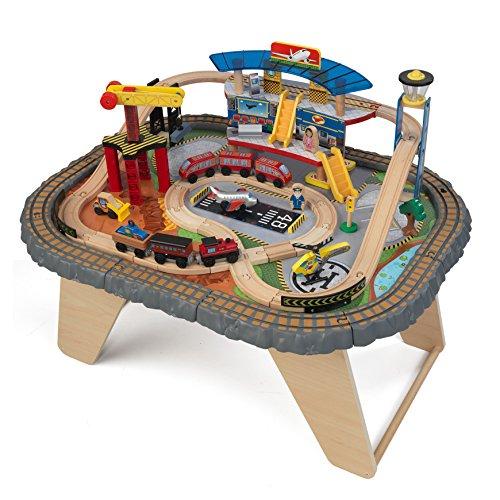 KidKraft 17564.0 Transportation Station Train Set and Table Toy,Natural