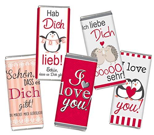 5 mal Mini Schokolade Valentinstag LIEBE STEINBECK Vollmilch Schokolade Tafel 5er Set Geschenk süß Mitgebsel Herzen i love you Frauen Männer Schatz rot