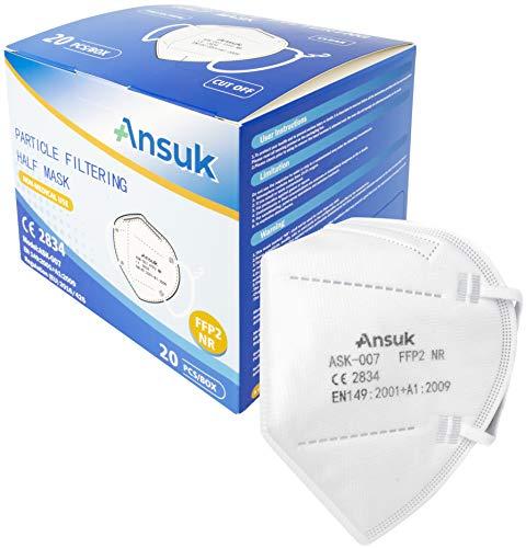 Set mit Ansuk 20 Stück FFP2 Atemschutzmasken | Schutzmaske | Mundschutzmaske 5-lagig EU von offizieller Stelle CE2834 - EN 149:2001+A1:2009