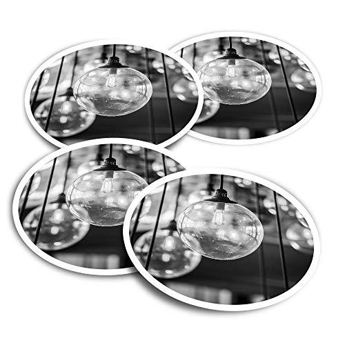 Pegatinas de vinilo (juego de 4) 10 cm – BW – Bombillas retro Edison Bombillas Interiores Divertidos Calcomanías para Portátiles, Tabletas, Equipaje, Reserva de chatarra, Frigoríficos #37071