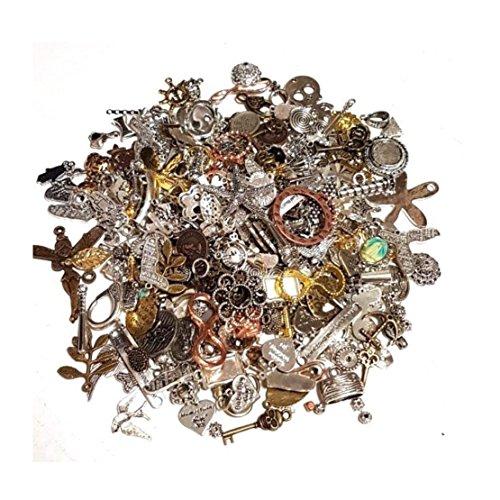 Metall Anhänger Mix 100g Verbinder Metallperlen für Halskette Charm Mischung Mix Bunt Silber Gold von Vintageparts, DIY-Schmuck Fassung Medaillons Anhänger Ketten M66