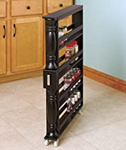 Black Wooden Spice Seasoning Can Rack Slim Rolling Cart Space Saver Organizer Shelf Storage Kitchen Organization Fits Between Cabinets and Refrigerator by KNL Store