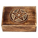 Something Different Wooden Tarot Card Box With Engraved Pentagram (17x12 cm)