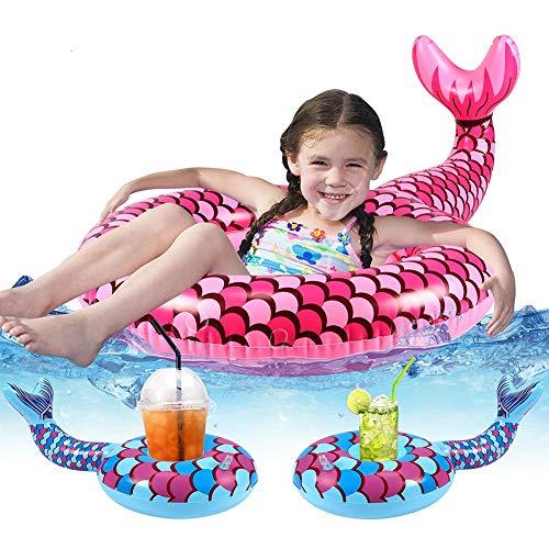 Tacobear Meerjungfrau Schwimmring Schwimmhilfe für Baby Aufblasbar Pool Luftmatratze mit 2 Aufblasbar Getränkehalter Pool Wasserspielzeug Sommer Spaß für Kinder
