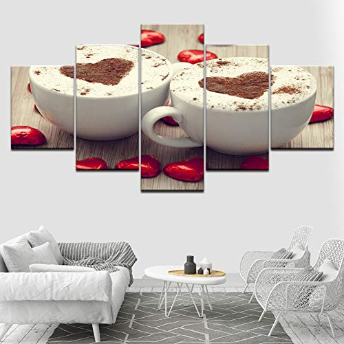 OUPDJ 5 Consecutive Paintings Romantic Coffee Cappuccino Love 5 Piece HD Wallpapers Art Canvas Print Modern Poster Modular Art Painting Living Room Home Decor