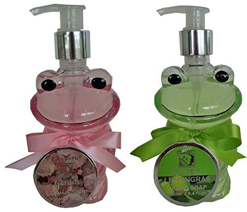 Salsacollection Duo 2 x 250 ml Handseife Flüssigseife im Seifenspender Frosch in Rosa und Grün