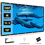 TOWOND Projector Screen 150 inch - 16:9 HD 4K Foldable Anti-Crease Portable Movies Projector Screen for Home Theater Outdoor Indoor Support Double Sided Projection